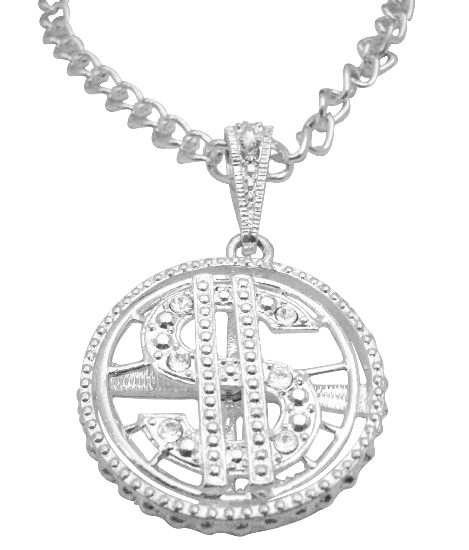 Spinning Dollar Pendant Men's Jewelry Bling Bling Pendnt w/ Cubic Zircon 28 Inches Necklace