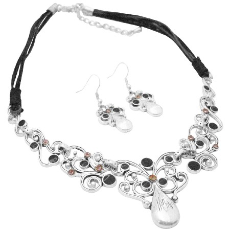 Artform Vintage Silver Jewelry Choker Style Necklace Earrings
