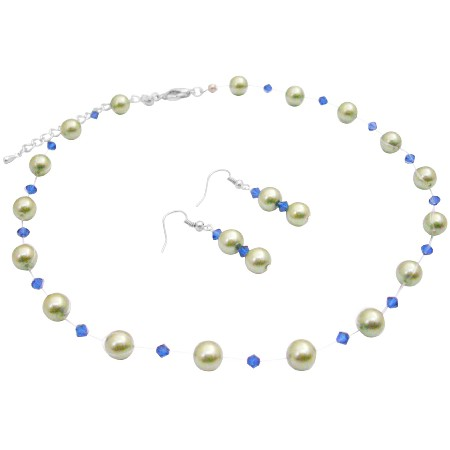Illusion Necklace Wedding Jewelry Lime Green Pearls Sapphire Crystals