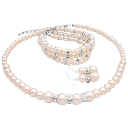 Bridal Ivory Pearl Jewelry with 3 Stranded Wedding Necklace & Bracelet