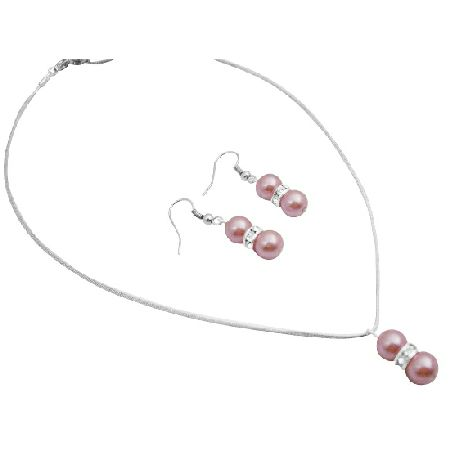 Array of Pink Pearls Wedding Pageant Bridesmaid Prom Jewelry Set