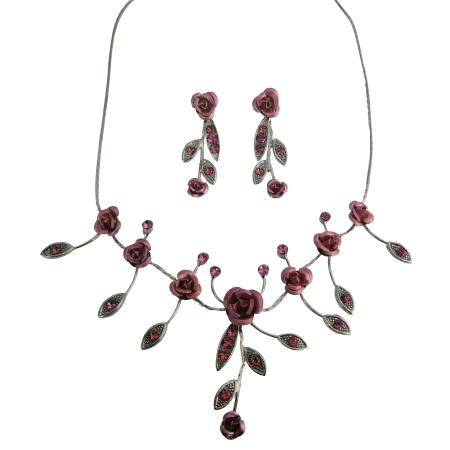 Prom Jewelry Christmas Gift Birthday Gift Rose Jewelry Set