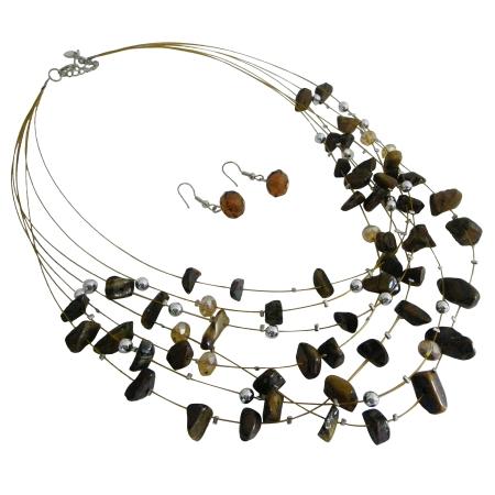 Golden Tigger Nuggets Silver Beads Multi Strand Gold Wire Illusion Set