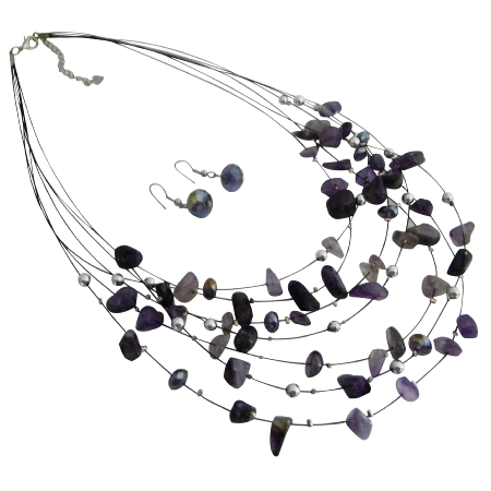Multi Strands Necklace Earrings In Amethyst Beads Nuggets Jewelry Gift
