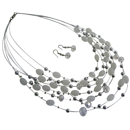 Elegant Beautiful Wedding White Oval Beads Multi Strand Necklace Set