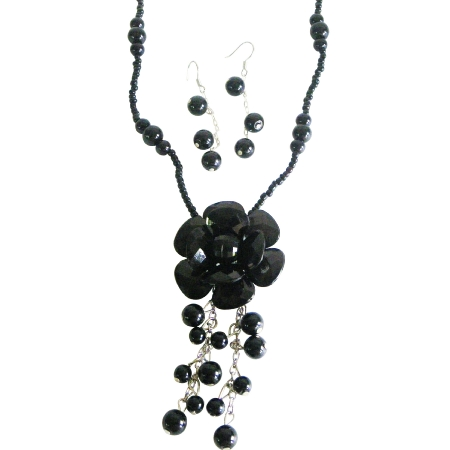 Classic & Elegant Inexpensive Black Flower Jewelry