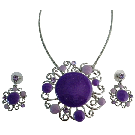 Purple Lilac Designer Round Necklace Set