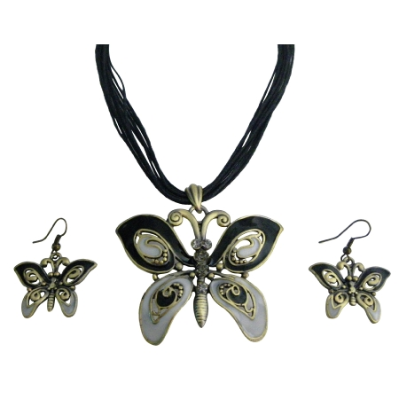 Vintage Rhinestone Black Gray Enamaled Butterfly Necklace Set