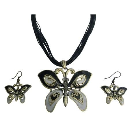 Vintage Rhinestone Black Gray Enamaled Butterfly Necklace Set