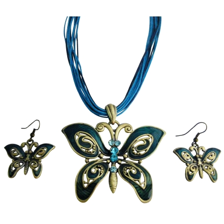 Ethinic Aquamarine Rhinestone Blue Green Butterfly Jewelry Set