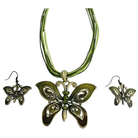 Olivine Rhinestones Green Enamaled Butterfly Necklace Set