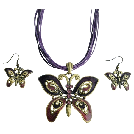 Ethinic Amethyst Rhinestones Purple Enameled Butterfly Necklace Set