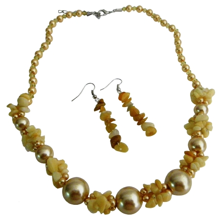 Gift Yellow Pearls w/ Nugget Chips Necklace Set