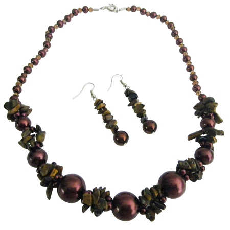 GORGEOUS Burnt Brown Pearls Nugget Set Bridemaid Jewelry