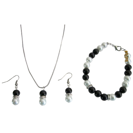 Fashion Jewelry In Black & White Pearls Necklace Earrings & Bracelet