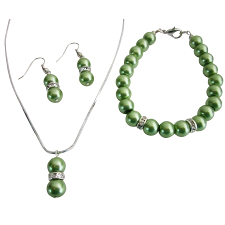 Affordable Sleek Dainty Green Pearls Necklace Earrings Bracelet