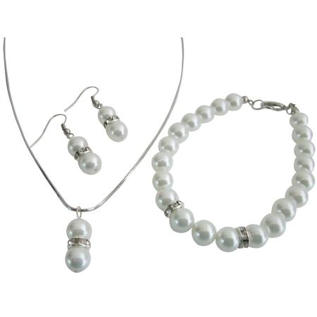 Looking White Pearls Flower Girl Junior Bridesmaid Jewelry