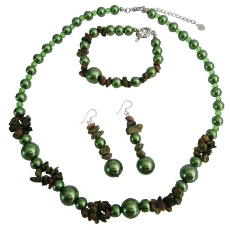 Wedding Beautifull Olive Pearls Olive Nugget Necklace Set