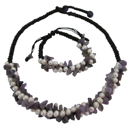 Amesthist Nuggets Freshwater Pearls Cord Necklace & Bracelet Set