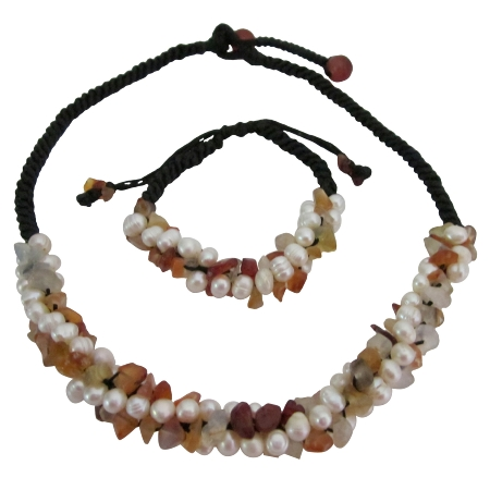 Fall Color Carnelian Nuggets Freshwater Pearls Unique Design Jewelry