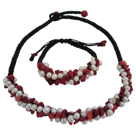 Prom Party Jewelry Coral Nuggets & Freshwater Pearls Necklace Bracelet