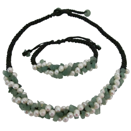 Beach Wedding Jewelry Jade Stone w/ Freshwater Pearls