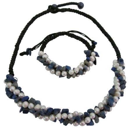 Bridal Destination Honeymoon Jewelry Lapis Nuggets Freshwater Pearls