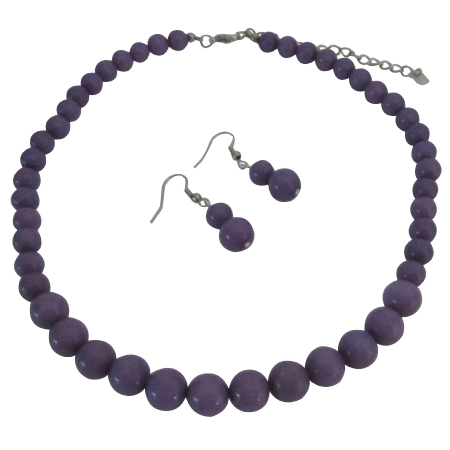 Flower Girl Friend Bride Bridesmaid Purple Jewelry Set