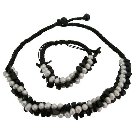 Bridal Bridesmaid Jewelry Onyx Freshwater Necklace Bracelet