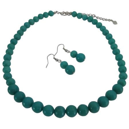 Affordable Designer Green Turquoise Round Beads Necklace Sets