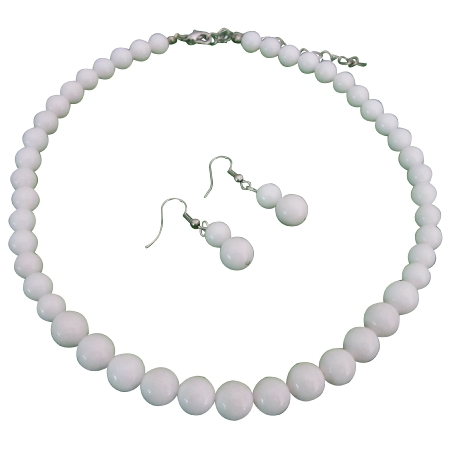 Fab Looks The Hottest Style Chalk White Round Beads Jewelry