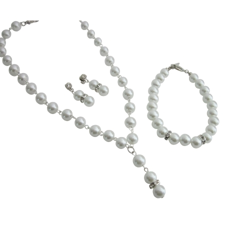 Bridesmaid Necklace Earrings Set Maid Of Honor White Complete Jewelry