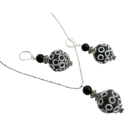 Gift Ethnic Jewelry Handmade Beads Necklace Earrings Set