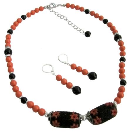 Orange Black Combo Jewelry Swarovski Pearls Set w/ Kashmiri Bead
