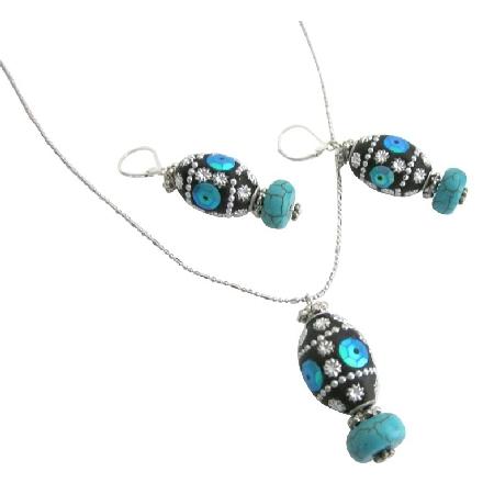 Jewelry For Christmas Holiday Kashmiri Lac Bead Pendant Earrings Set