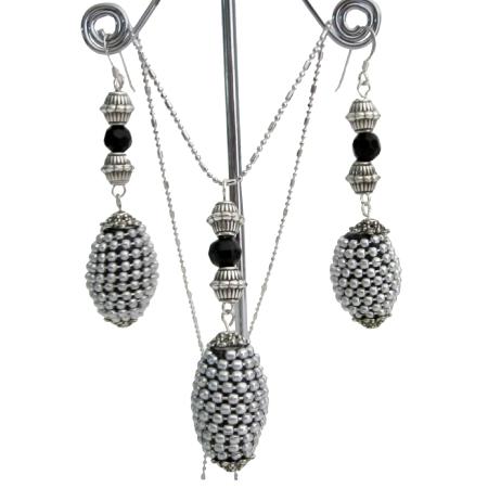 Artisan Creation Gift Ethnic Tribal Jewelry Silver Black Jewelry Set