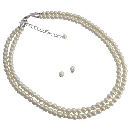 Timeless Elegant Bridal Ivory Double Stranded Necklace Stud Earrings