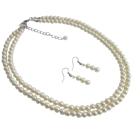 Shop For Party Favors Ivory Double Stranded Necklace Set