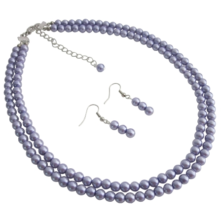 Formal Purple Jewelry Double Stranded Purple Necklace Earrings Set