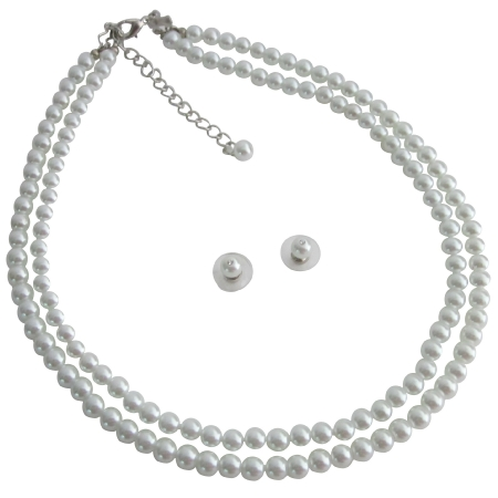 Elegant Statement On Your Wedding Day w/ White Pearls Jewelry Set