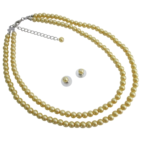 Bridal Collection Customize In Your Color Length Yellow Pearl Jewelry Set
