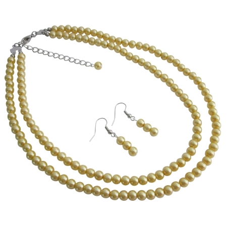 Jewelry Gorgeous Women Love To Wear Yellow Pearls Earring Necklace Set