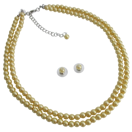 Yellow Pearls Double Stranded Economical Wedding Low Price Jewelry Set