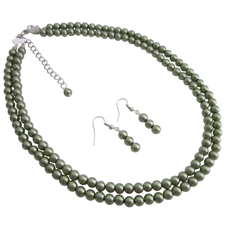 Meaningful Gifts Party Favors Wholesale Green Pearls Necklace Set