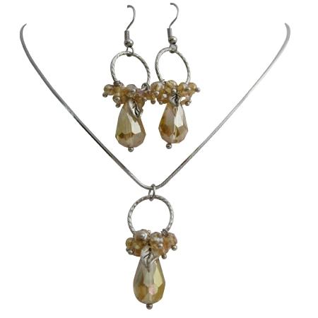 Circle Pendant Earrings w/ Dangling Golden Shadow Beads Teardrop Set