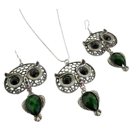 Oxidized Owl Green Enamel Body Black Eyes Pendant Earrings Set