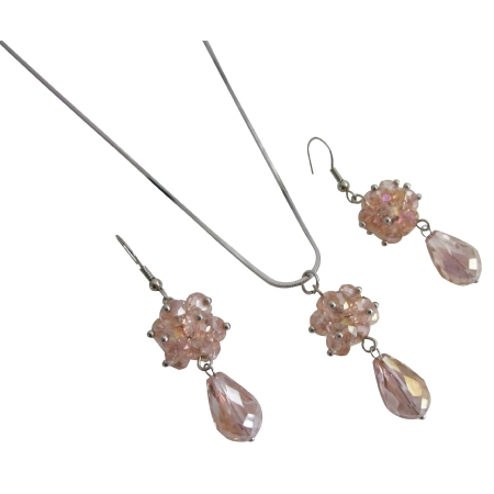 Rose Glass Beaded Ball Cluster Pendant Earrings Wedding Jewelry Set