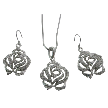 Lovely Clear Rhinestones Rose Pendant Earrings Set Buy Christmas Gift