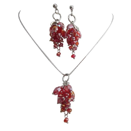 Siam Red Beaded Grape Cluster Dangling Pendant & Earrings Set