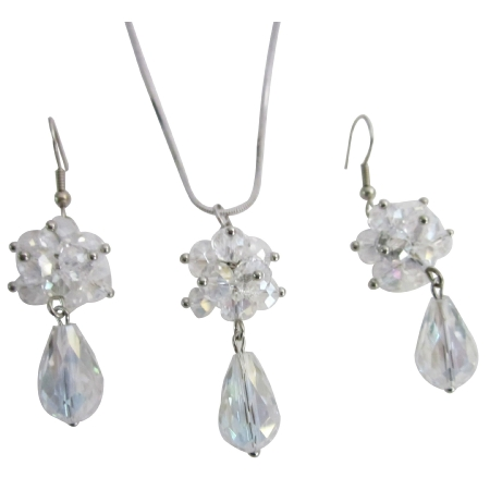 Cluster Ball Pendant & Earrings Glass Beads with Teardrop BridesmaidJewelry Set